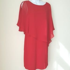{MSK PETITE} Red Dress Sheer Capelet Size Medium